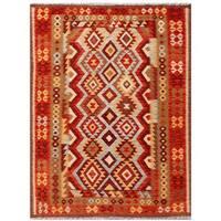 Handmade Herat Oriental Afghan Tribal Wool Kilim (Afghanistan) - 4'11 x 6'4