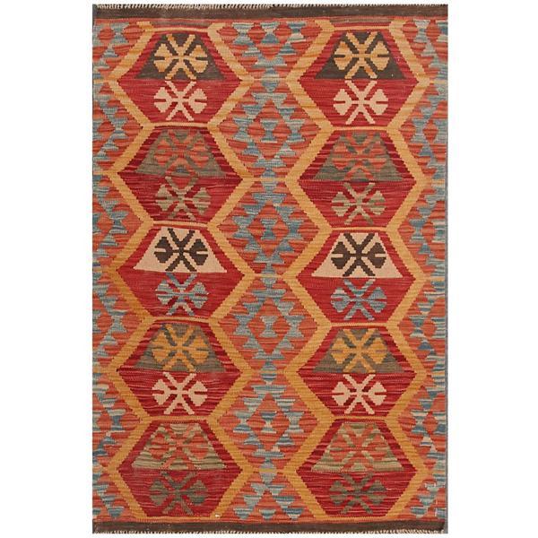 Handmade Herat Oriental Afghan Tribal Wool Kilim (Afghanistan) - 3'4 x 4'11