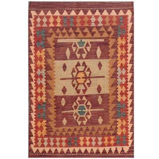 Herat Oriental Afghan Hand-woven Tribal Kilim Purple/ Red Wool Rug (3'3 x 4'10)