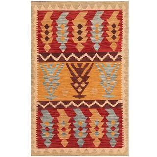 Herat Oriental Afghan Hand-woven Tribal Kilim Tan/ Red Wool Rug (3'1 x 5')