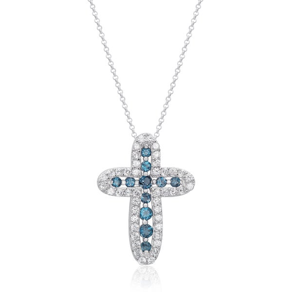 Dolce Giavonna Sterling Silver London Blue Topaz and Cubic Zirconia Cross Necklace