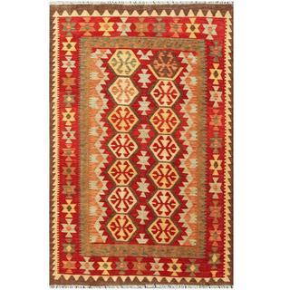 Herat Oriental Afghan Hand-woven Wool Kilim (4' x 6')