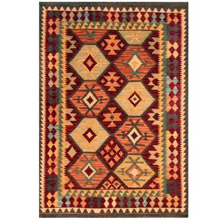 Herat Oriental Afghan Hand-woven Kilim Burgundy/ Salmon Wool Rug (4'1 x 5'11)