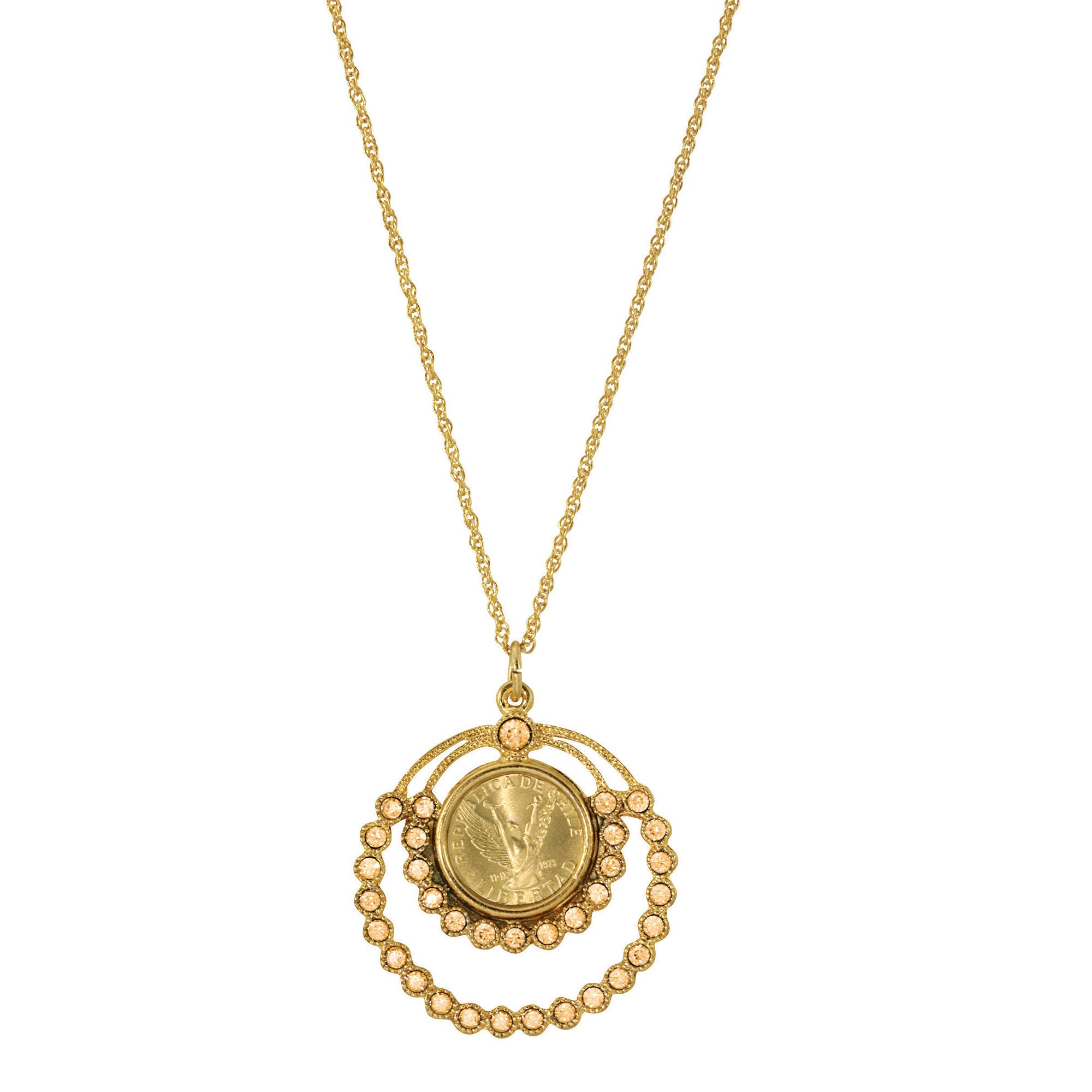 American Coin Treasures Angel Coin and Crystal Pendant Ne...