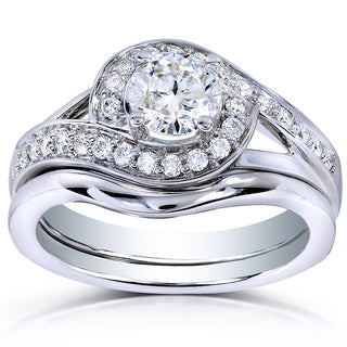 Annello by Kobelli 14k White Gold 3/4ct TDW Round Diamond 2-piece Bridal Rings Set