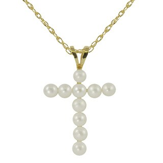 Pearls For You 10k Yellow Gold Freshwater Pearl Cross Necklace