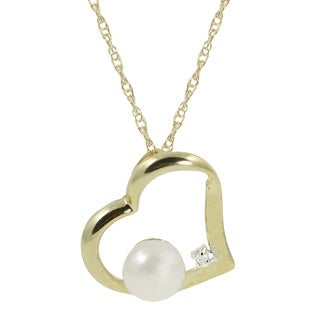 Pearls For You 10k Yellow Gold 18-inch Freshwater Pearl and Diamond Accent Heart Pendant (6-6.5 mm)