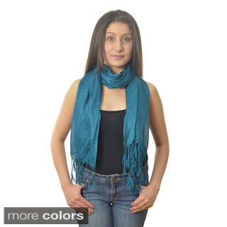 Women's Sparkle Twisted-fringe Viscose Scarf