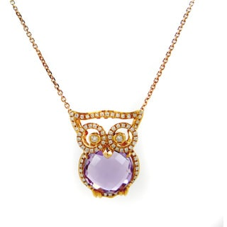 Kabella Luxe 18k Rose Gold 1/4ct TDW Diamond Gemstone Owl Pendant Necklace (H-I, SI1-SI2)