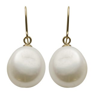 Pearls For You 14k Yellow Gold White Baroque Freshwater Pearl Earrings (10-11 mm)