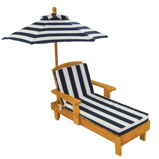 Kid's Blue/ White Striped Outdoor Chaise with Umbrella