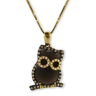 Kabella Luxe 18k Yellow Gold Diamond Gemstone Owl Pendant Necklace