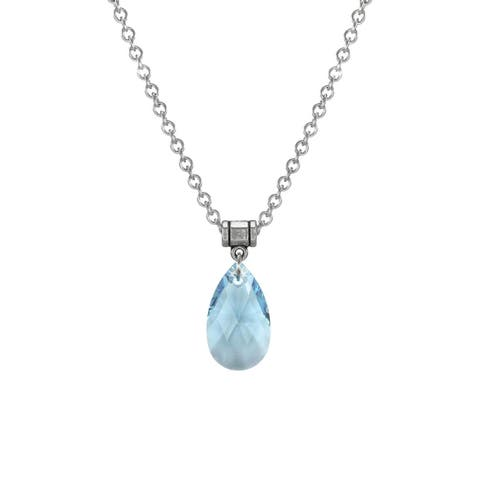Handmade Jewelry by Dawn Large Aquamarine Crystal Pear Stainless Steel Chain Necklace (USA)
