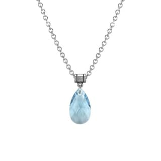 Jewelry by Dawn Large Aquamarine Crystal Pear Stainless Steel Chain Necklace