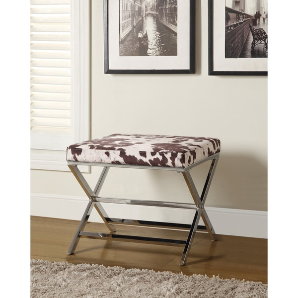 Coaster Company Cow Print And Chrome X Bench Ottoman Free Shipping Today