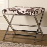 Coaster Company Cow Print and Chrome X-Bench Ottoman