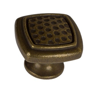 GlideRite 1.125-inch Antique Brass Rounded Square Dimpled Cabinet Knobs (Pack of 10)