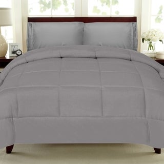 Plush Solid Color Box Stitch Down Alternative Comforter