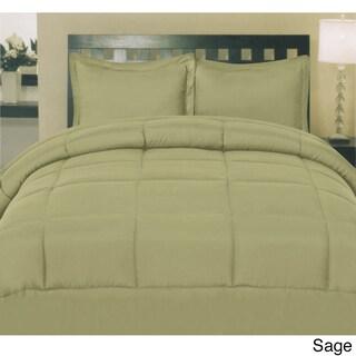 Plush Solid Color Box Stitch Down Alternative Comforter (Option: Sage - Twin)