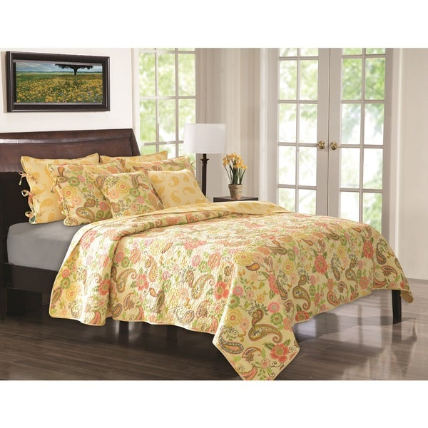 Greenland Home Fashions Sunset Paisley Quilt Set with Decorative Throw Pillows