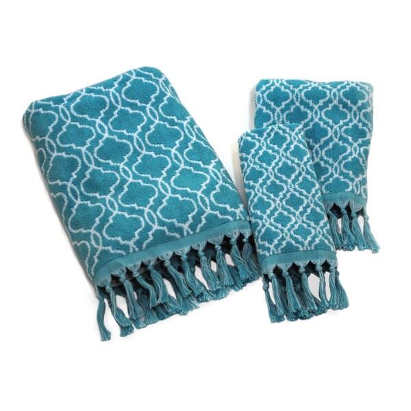 Dena Home Tangiers Collection Blue Jacquard 3-piece Towel Set