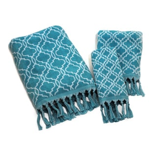 Dena Home Tangiers Collection Blue Jacquard 3-piece Towel Set