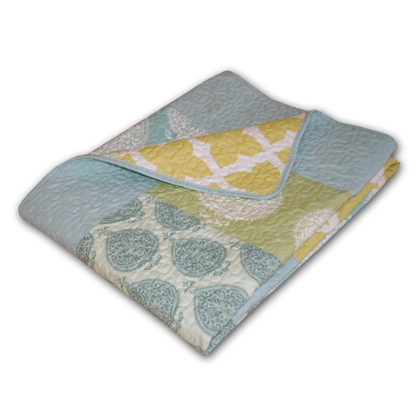 Greenland Home Fashions Avalon Multicolored Quilted Patchwork Throw