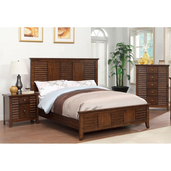 Furniture of america tyrenia walnut louver inspired for American black walnut bedroom furniture