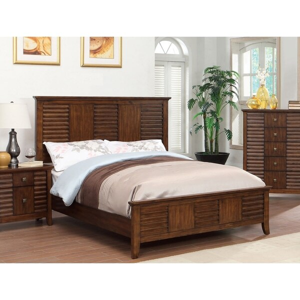 Furniture of America Tyrenia Transitional Walnut Solid Wood Panel Bed