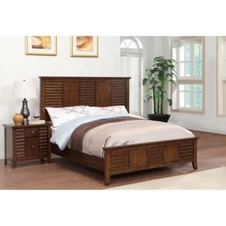 Furniture of America Tyrenia 2-Piece Walnut Finish Bed with Nightstand Set