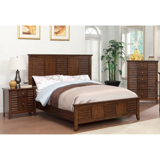 Furniture of America Tyrenia 3-Piece Walnut Finish Bed Set