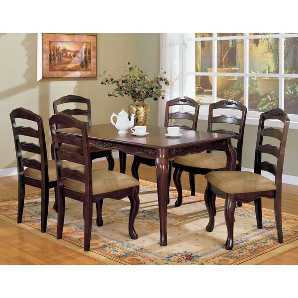Furniture Of America Le Deveaux 7 Piece Dark Walnut Dining Set With Leaf