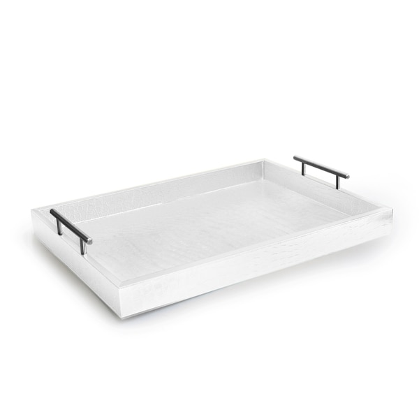 Alligator White Tray with Metal Handles