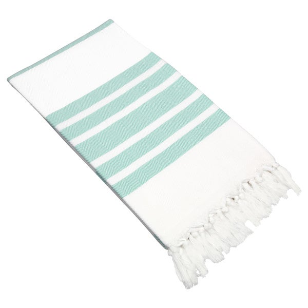 Authentic Pestemal Fouta Aqua and White Turkish Cotton Bath/ Beach Towel