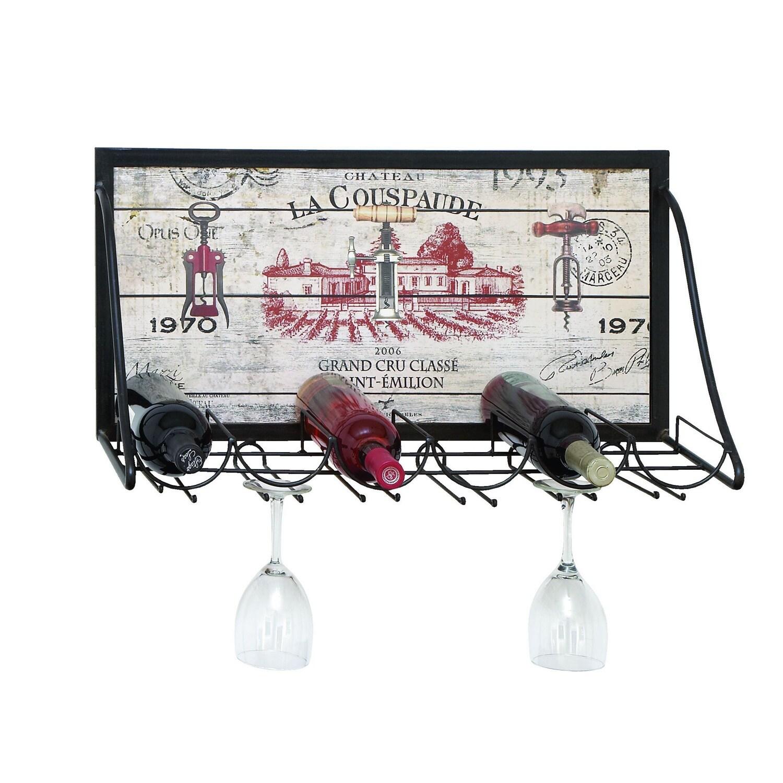 Studio 350 Vintage Vineyard Wine and Stemware Rack, Black