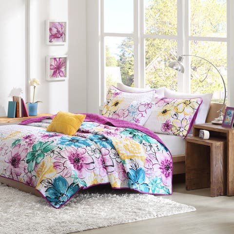Taylor & Olive Chipman 4-piece Reversible Floral Coverlet Set