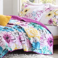 The Curated Nomad Stanyan 4-piece Reversible Floral Coverlet Set