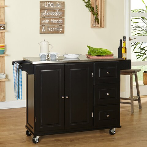 Simple Living Aspen Black Three-drawer Stainless Steel Top Kitchen Cart