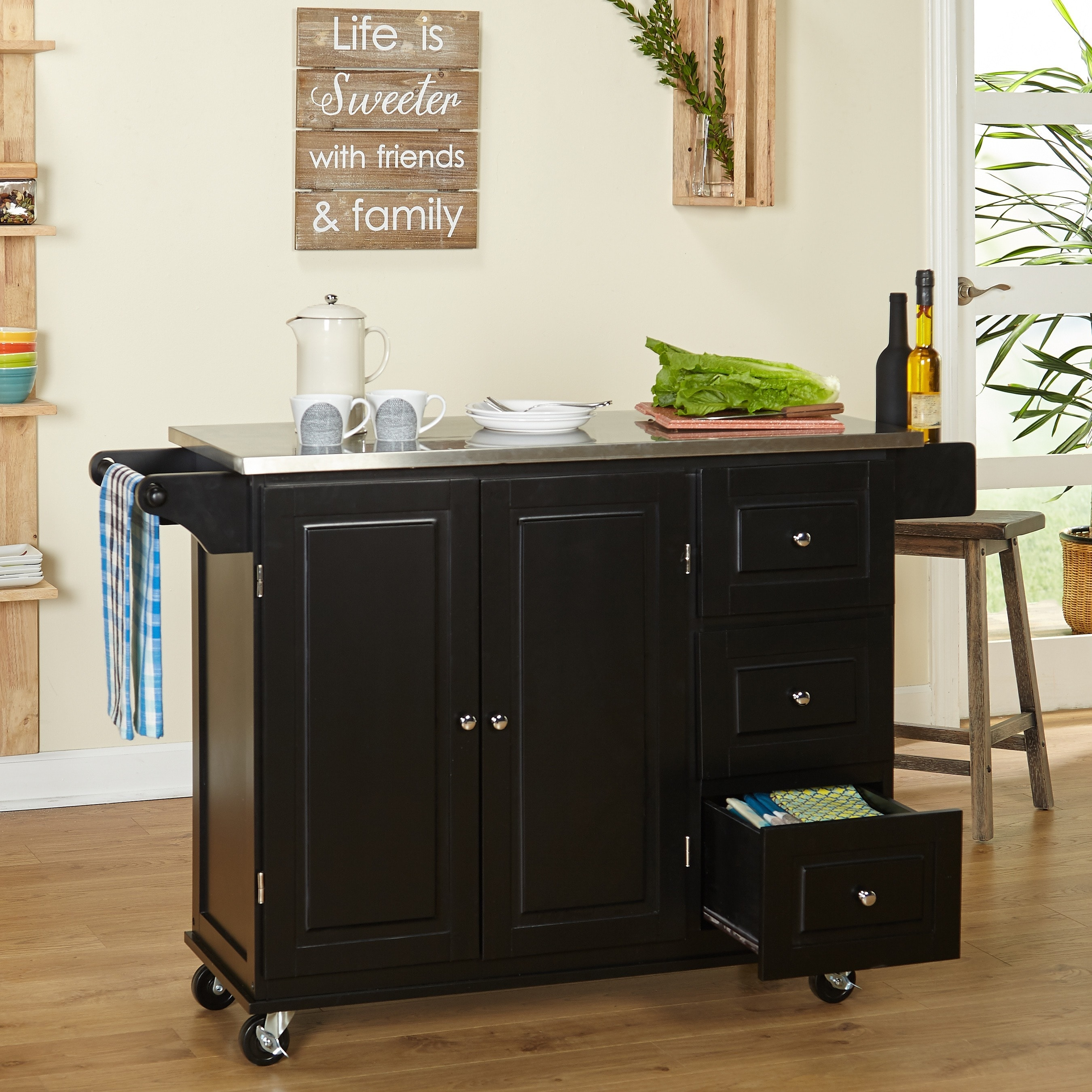 Simple Living Aspen Black Three Drawer Stainless Steel Top Kitchen Cart