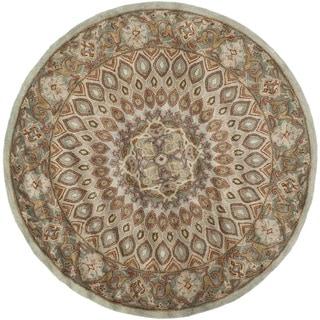 Safavieh Handmade Heritage Timeless Traditional Blue/ Grey Wool Rug (10' Round)