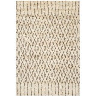 Safavieh Handmade Casablanca Shag Venita Tribal Wool Rug (8 x 10 - Ivory/Grey)