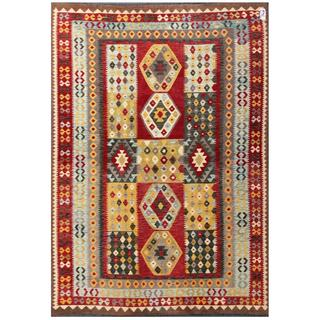 Herat Oriental Afghan Hand-woven Tribal Kilim Red/ Light Blue Wool Rug (6'6 x 9'5)