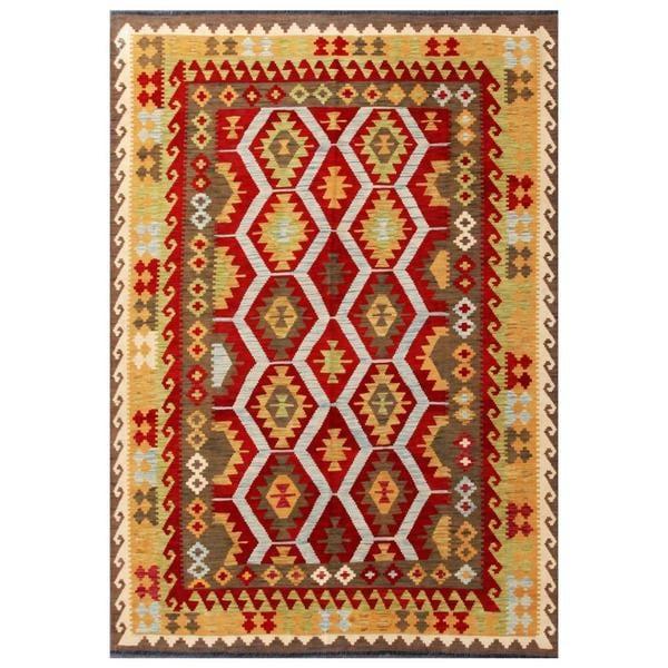 Handmade Herat Oriental Afghan Tribal Wool Kilim - 5'7 x 7'11 (Afghanistan)