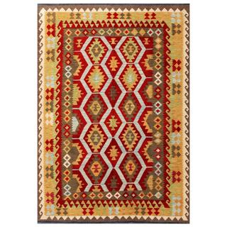 Herat Oriental Afghan Hand-woven Tribal Kilim Red/ Tan Wool Rug (5'7 x 7'11)