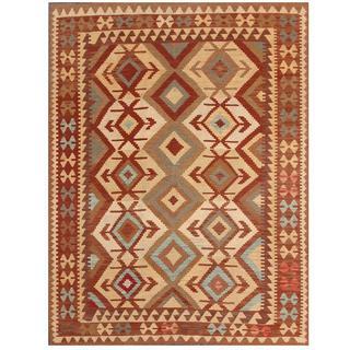 Herat Oriental Afghan Hand-woven Kilim Ivory/ Burgundy Wool Rug (5' x 6'6)