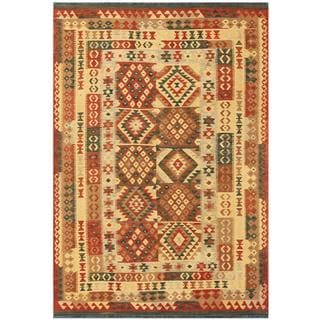 Herat Oriental Afghan Hand-woven Tribal Wool Kilim (5'9 x 8'4)