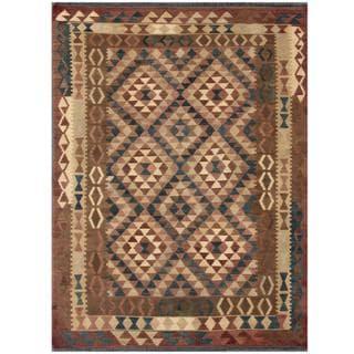 Herat Oriental Afghan Hand-woven Tribal Kilim Tan/ Pink Wool Rug (5' x 6'8)