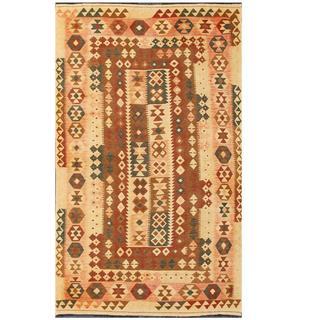 Handmade One-of-a-Kind Wool Kilim (Afghanistan) - 4'10 x 8'1
