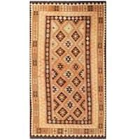 Handmade Herat Oriental Afghan Tribal Wool Kilim (Afghanistan) - 4'8 x 8'4