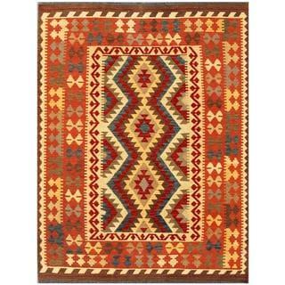 Herat Oriental Afghan Hand-woven Tribal Kilim Rust/ Beige Wool Rug (4'11 x 6'7)